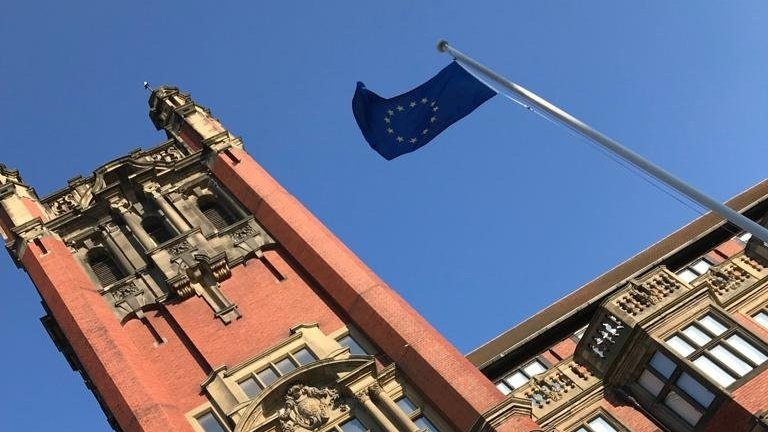 New Castle University raises European Union flag outside the Armstrong Building