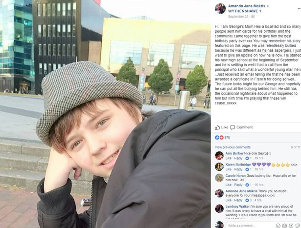 Amanda posted a photograph of her son alongside a caption explaining how he is doing.