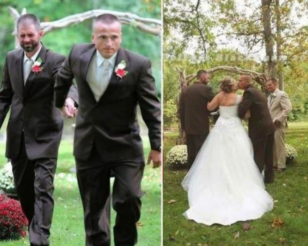 dad and stepfather walk down the aisle for daughters wedding