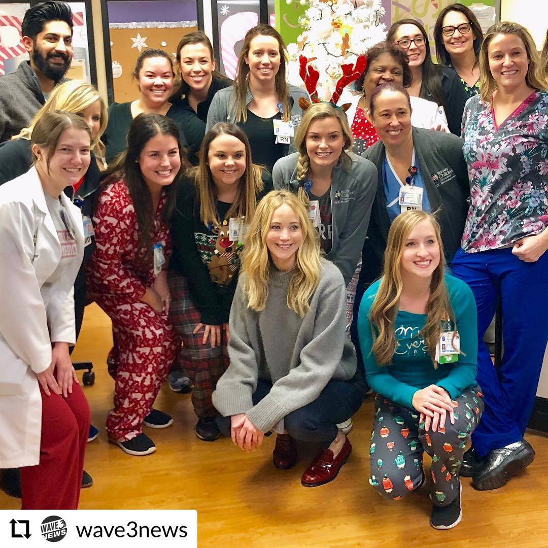 Jennifer Lawrence visiting louisville children's hospital