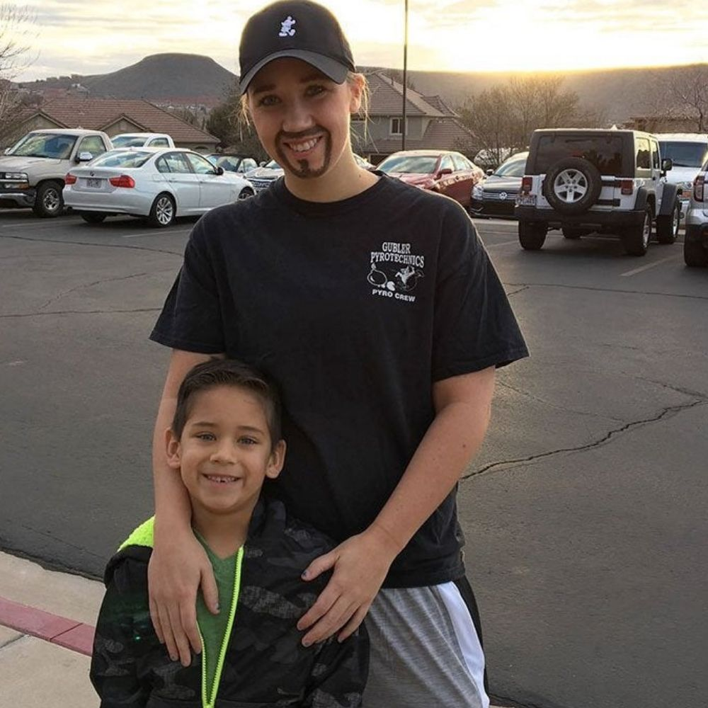 mom dresses up for her son for donuts with dad