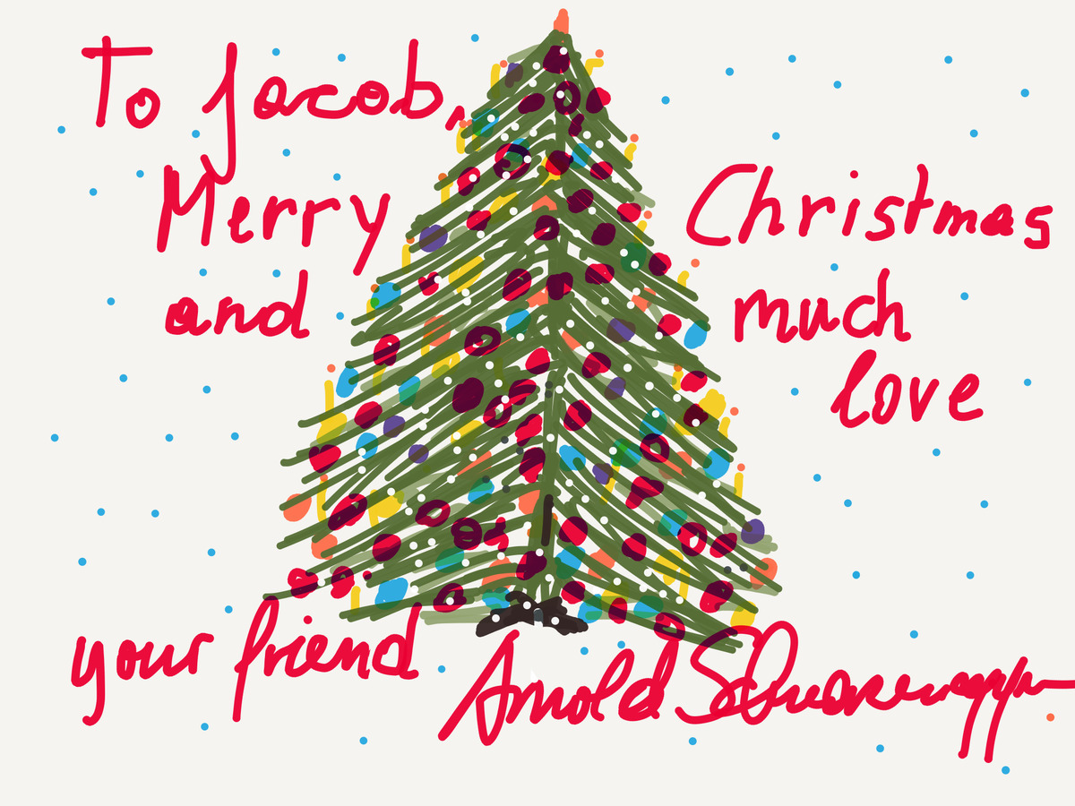 Arnold's homemade card to Jacob shows a Christmas tree and reads