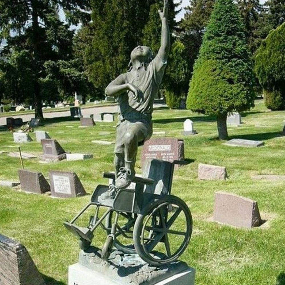 dad created this wheelchair tombstone