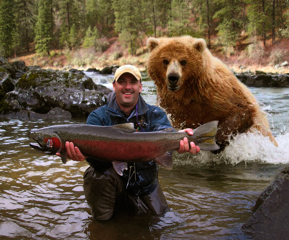 man with bear and salmon