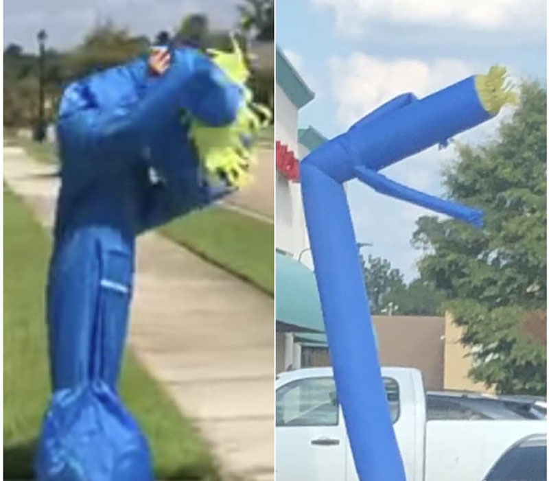A photo of Noah dressed like a blue inflatable tube man is placed next to a photo of an actual inflatable tube