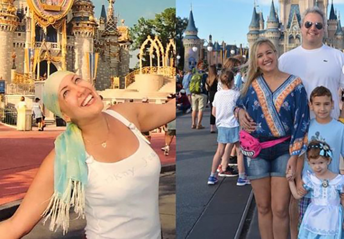 Cancer-free mother celebrating at Disneyworld in Miami, Florida