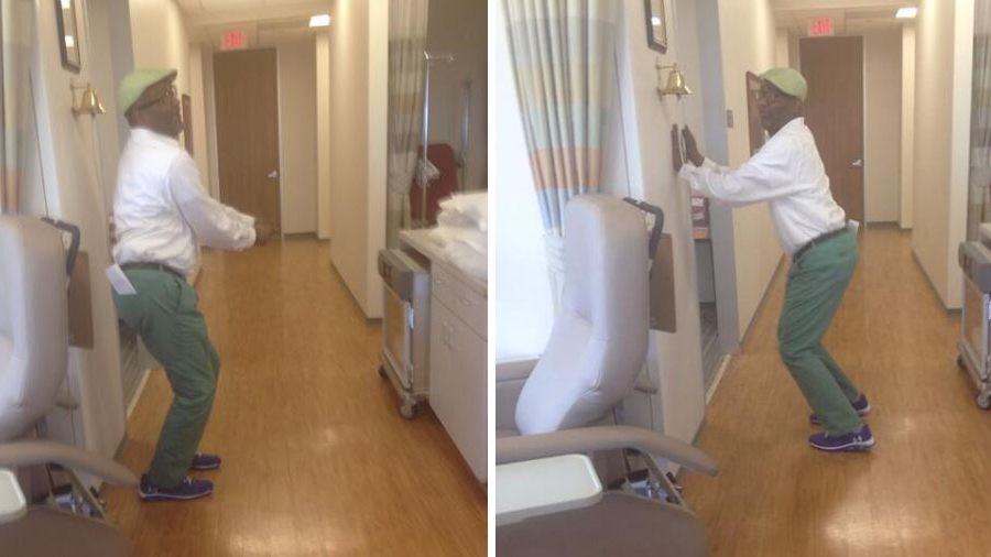 Father dances for joy after learning that he's cancer free