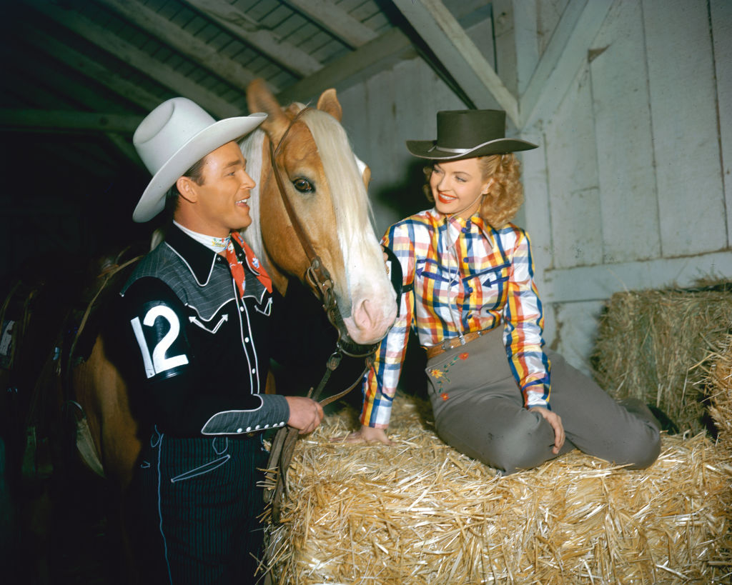 roy rogers and dale evans with golden cloud, also known as trigger
