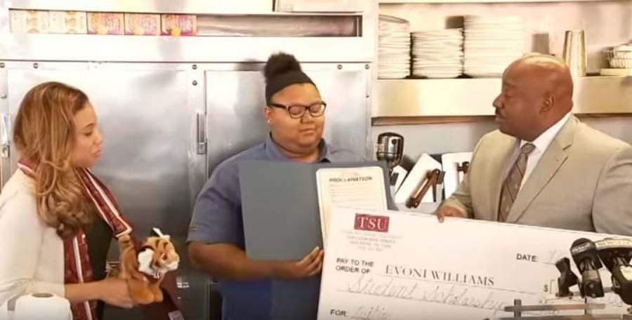she got a scholarship
