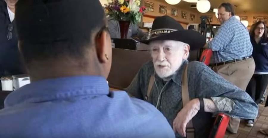 the waitress and customer speak