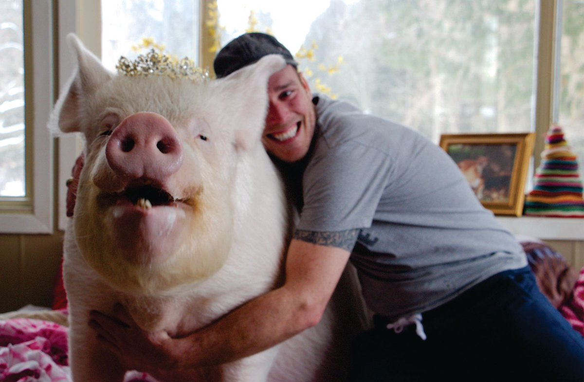 Derek hugs Esther the pig.
