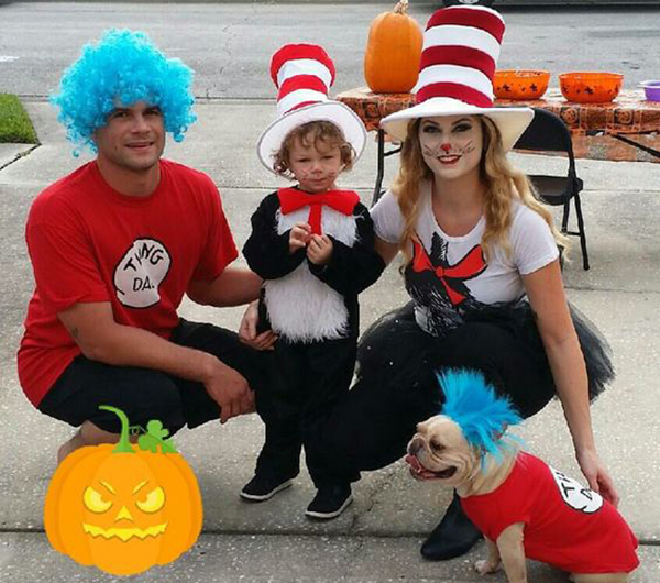 Family and dog dressed up as Dr. Seuss characters