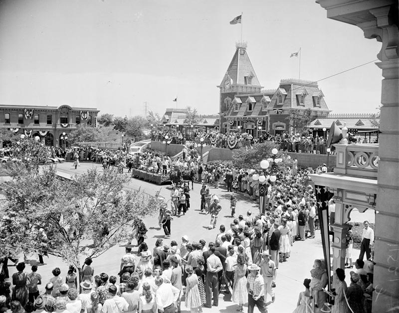 Crowds gather at the front of Disneyland.