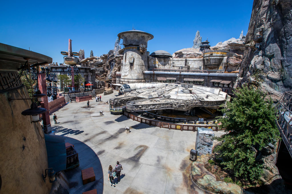 The Star Wars attraction at Disneyland is shown from above.