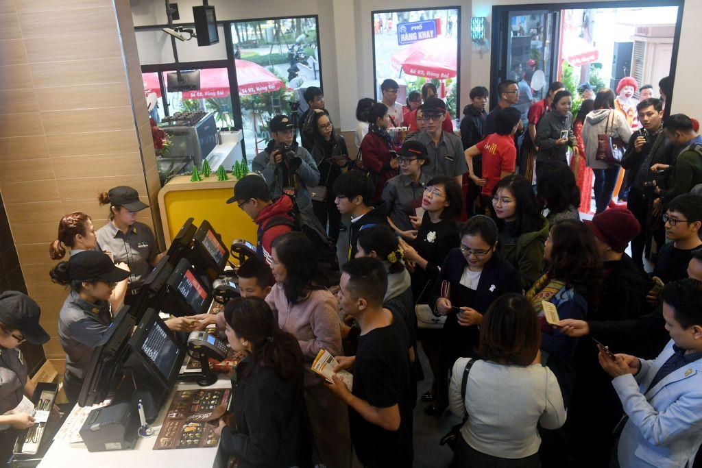 Customers crowd a McDonald's.