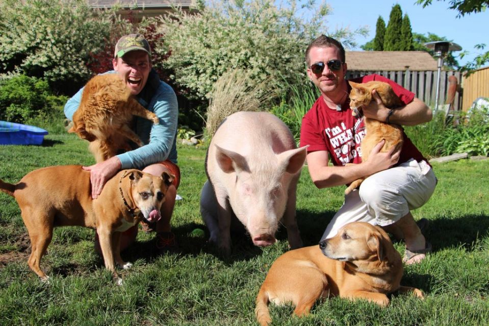 Steve and Derek pose with their house animals at their sanctuary.