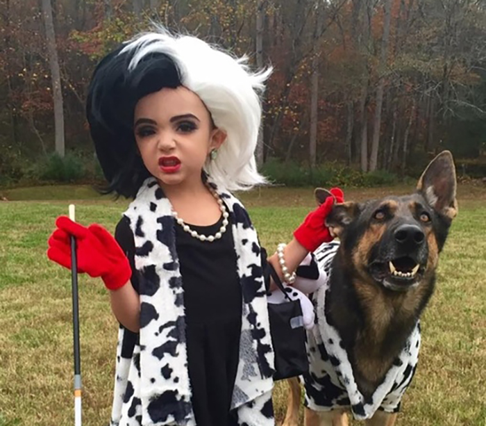 101 Dalmations costume with young girl and German Shepherd