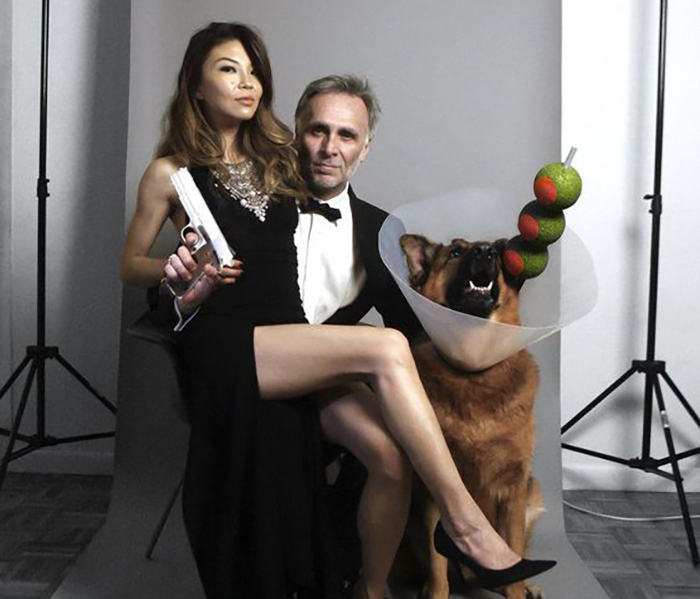 James Bond Halloween costume with couple and dog as a martini