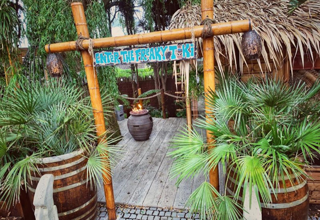 Exterior of tiki hut
