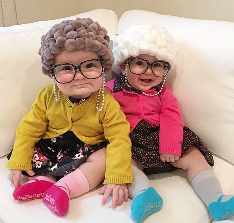 babies dressed as old ladies