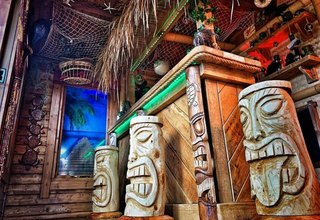 Inside of tiki hut
