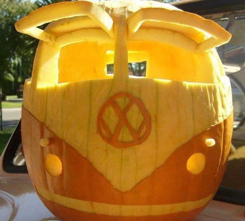 A pumpkin is carved to look like a classic Volkswagon Microbus.