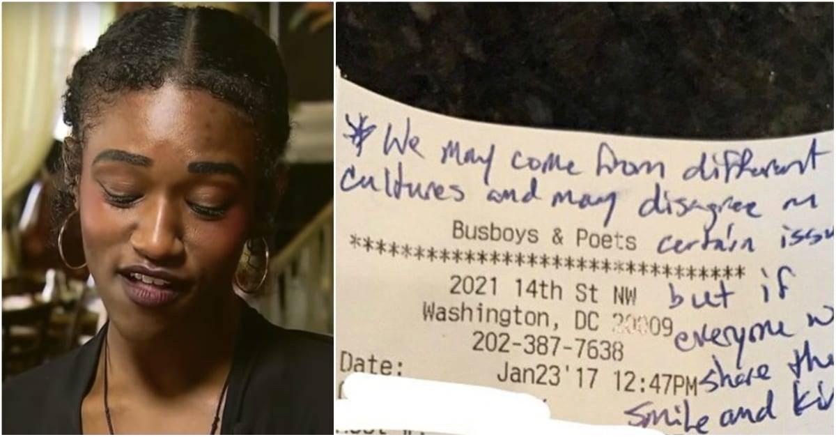 waitress reading note