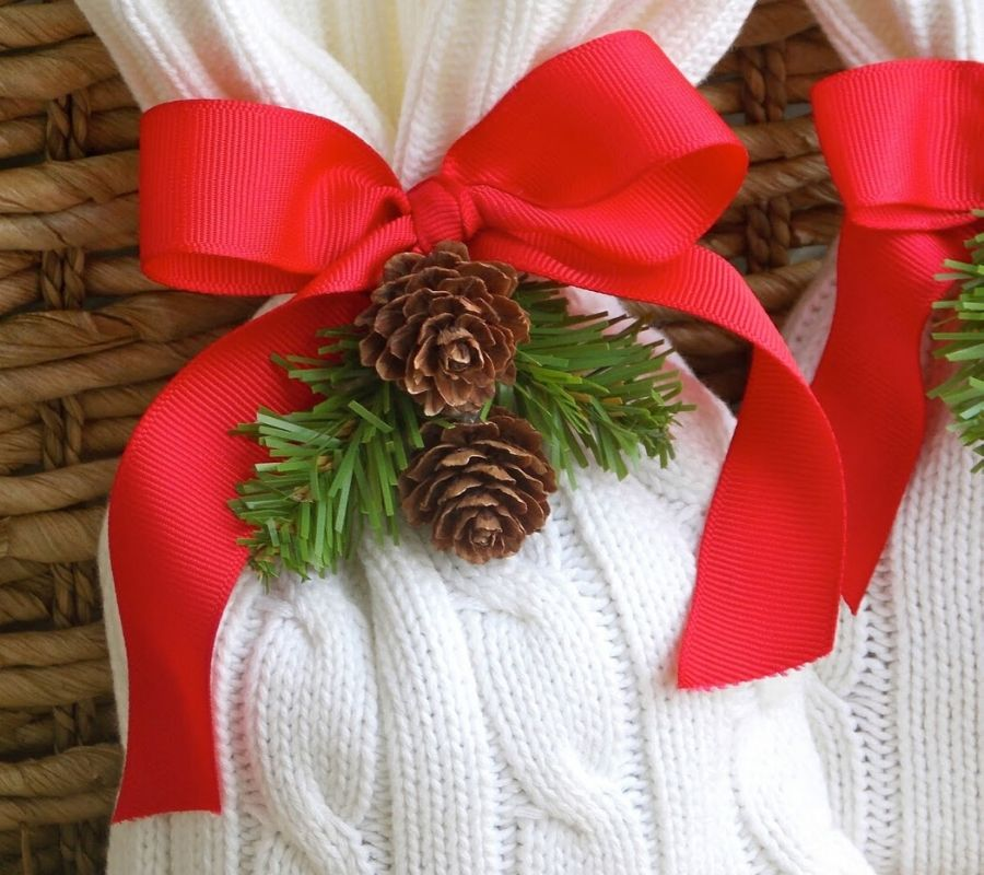 a sweater used to wrap a gift
