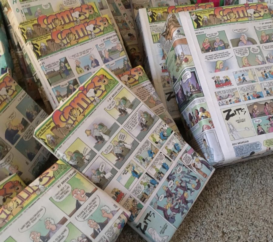 newspaper gift wrapping using comic strips