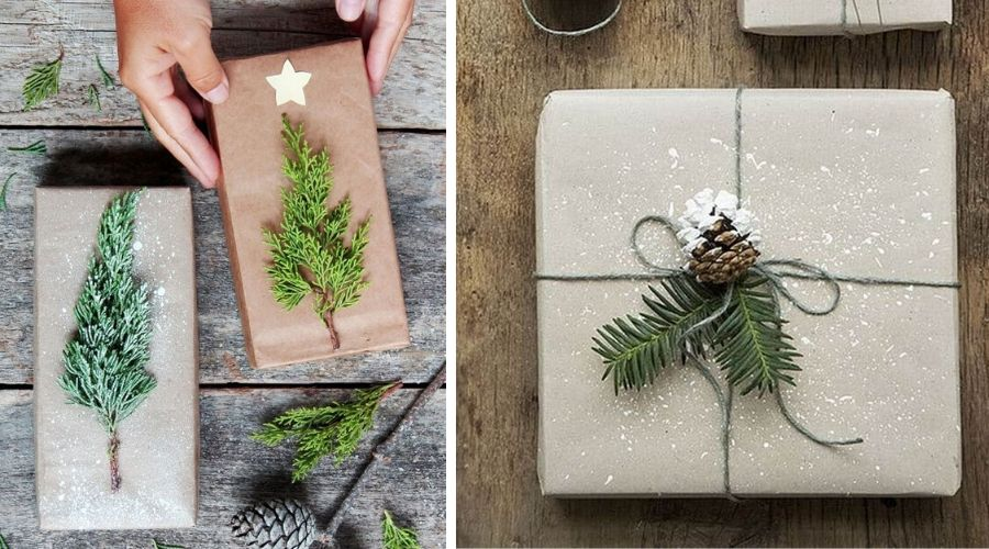 wrapping with greenery