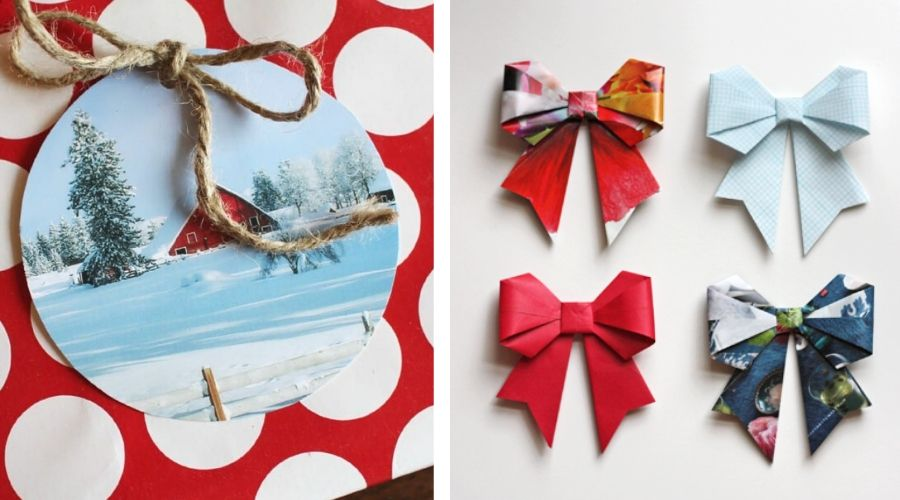 bows and card made out of leftover cards and paper