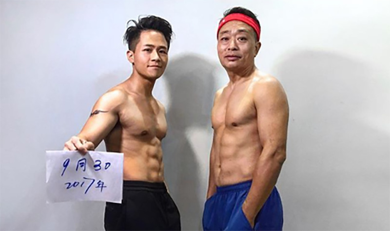 Jesse and his father take a photo six months into their fitness journey.