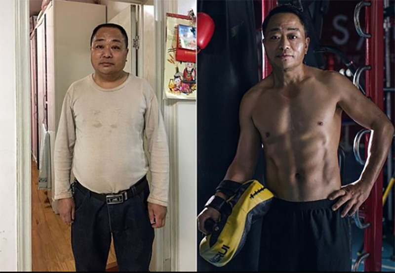 Jesse's father does a before and after photo.
