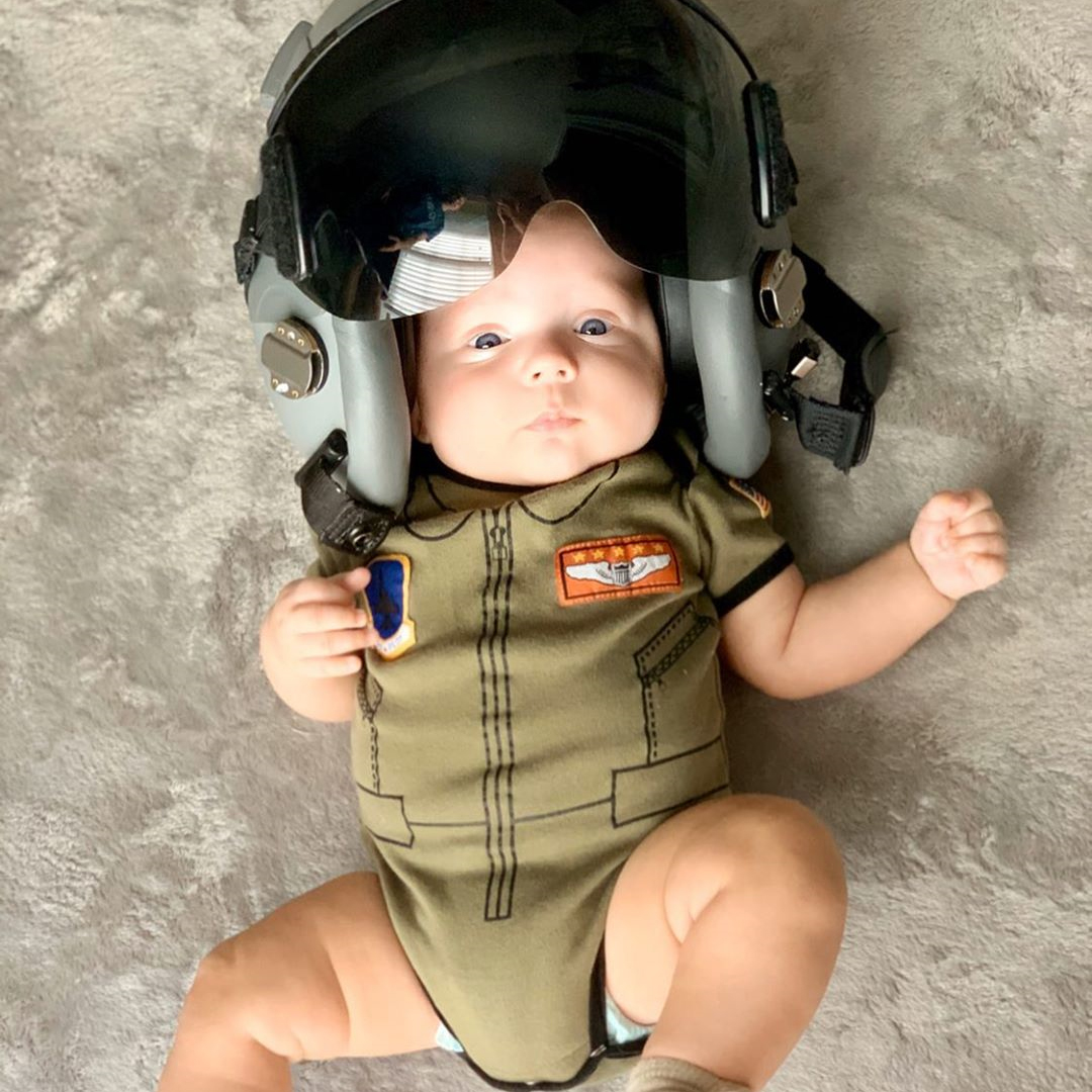 helmet baby looking cool