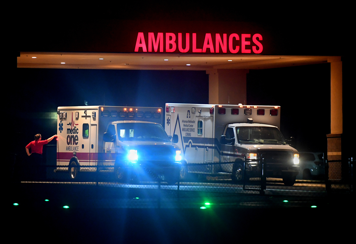 A pair of ambulances are parked in Missouri.
