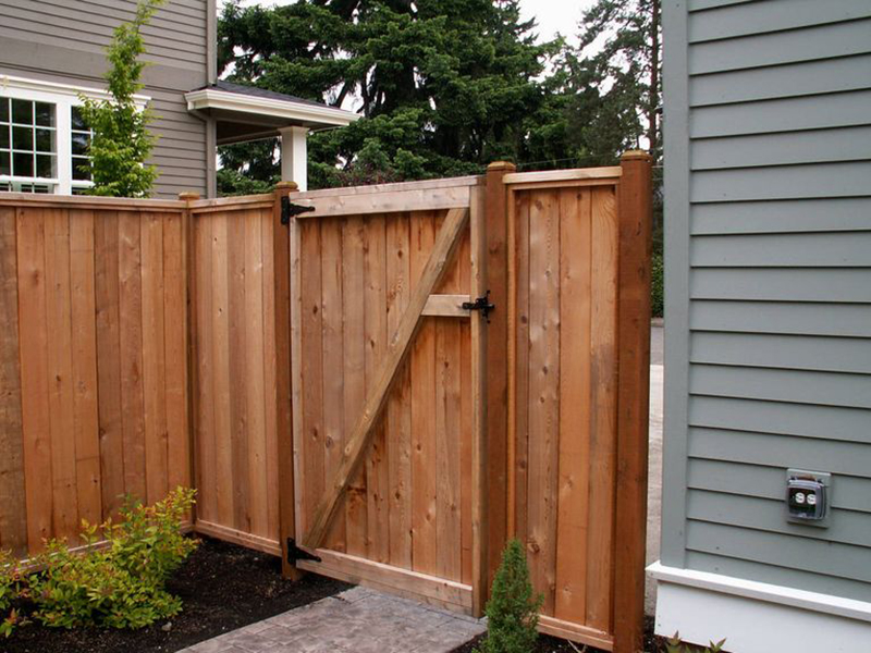 A wooden fence lines a backyard.