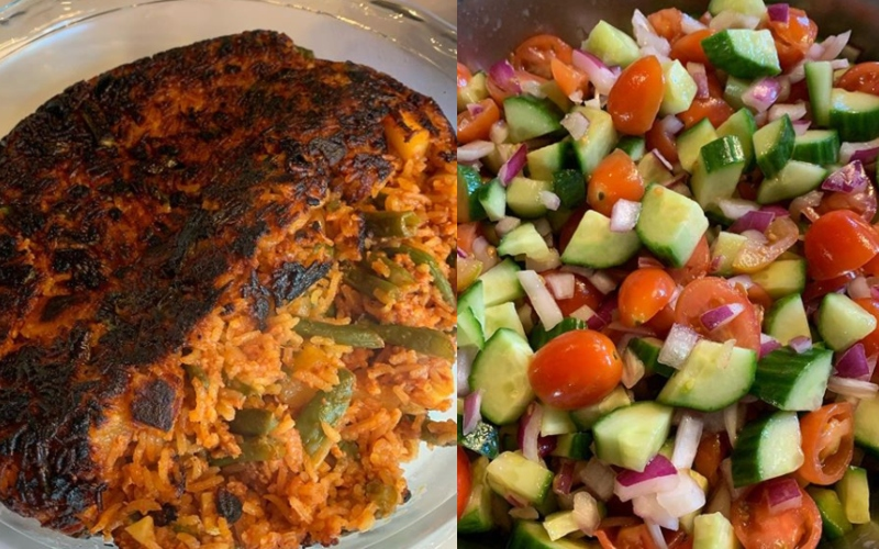 Two vegan, persian dishes are pictured side-by-side.