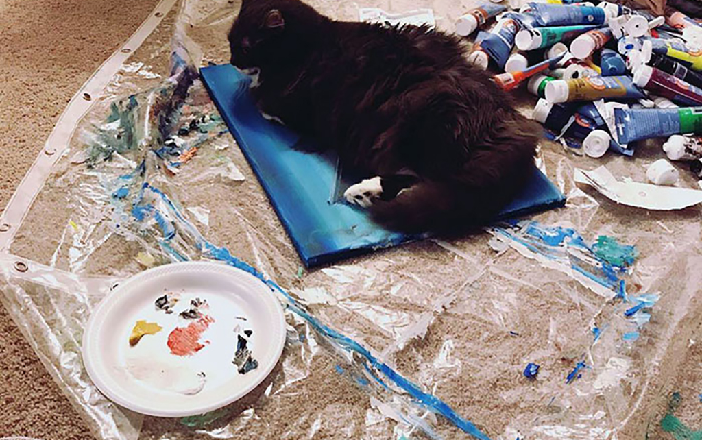 Cat on painting