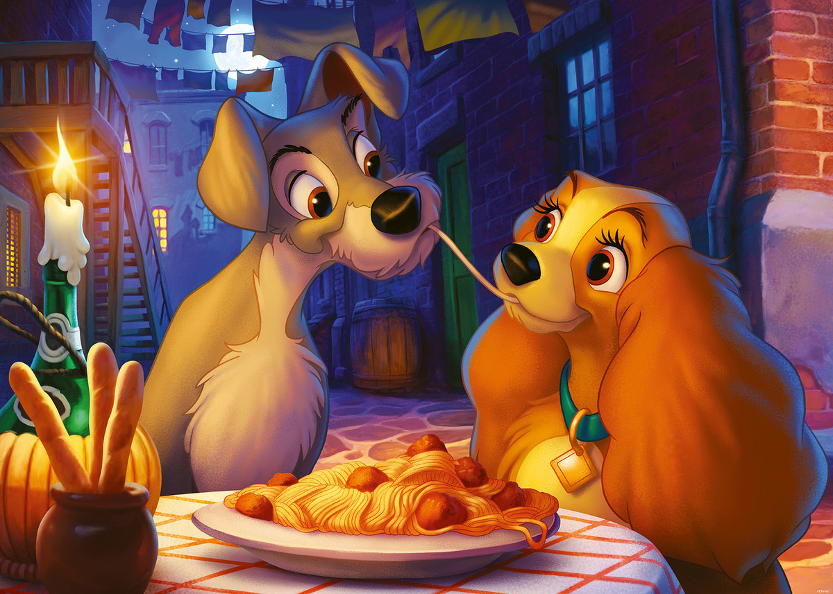 The Lady and the Tramp share a plate of spaghetti.