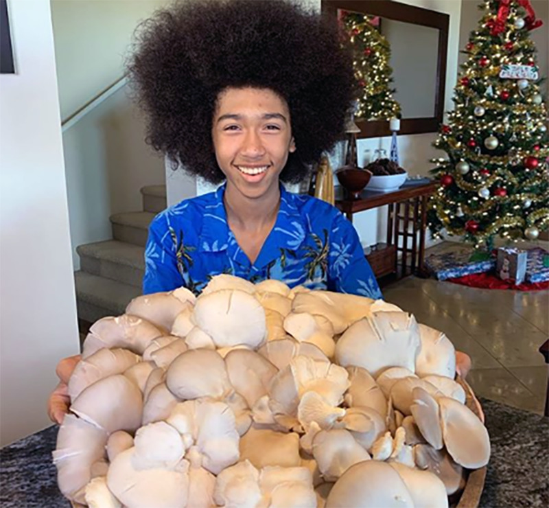 Tabay holds out a tray of vegan mushrooms.