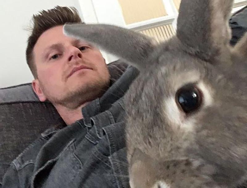 Nutsy the rabbit photobombs Sean's photo.
