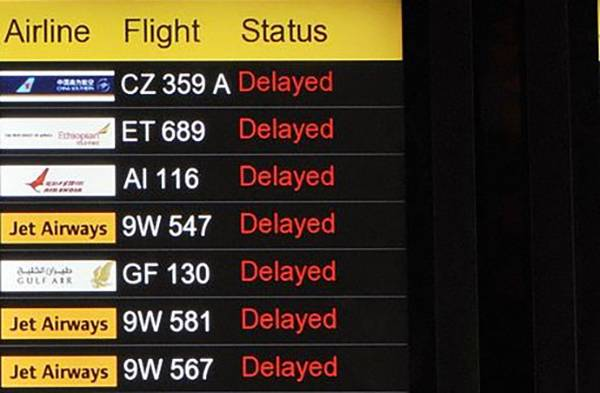 An airport signs shows delayed flights.