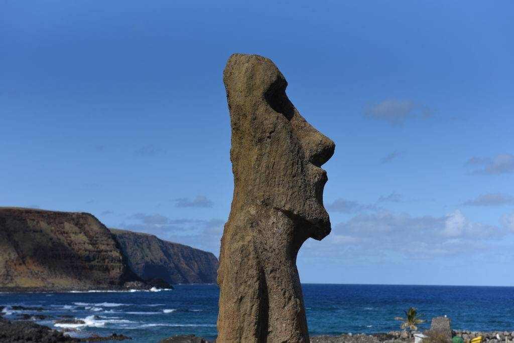 a side profile of a statue on easter island