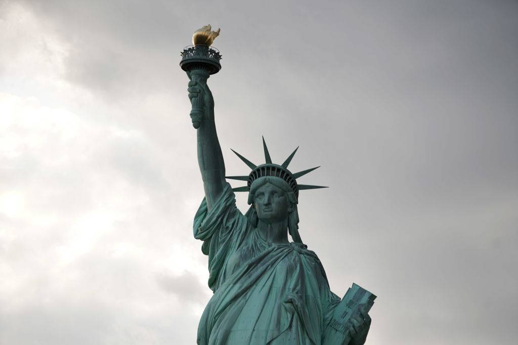 close up of the statue of liberty at ellis island