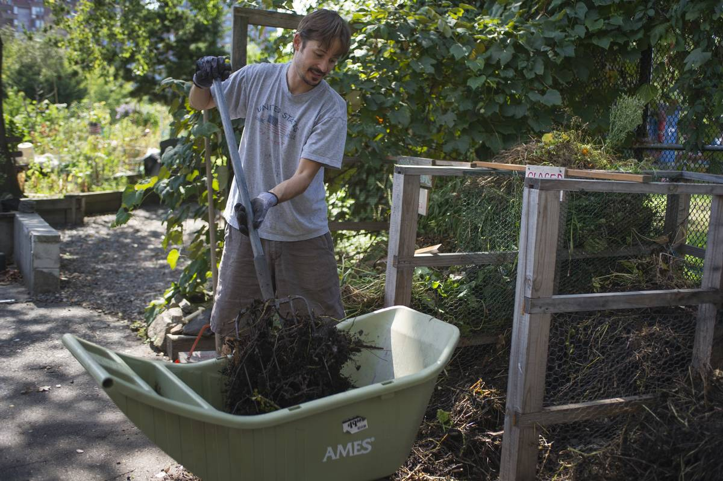 A man spreads comfort over a community garden.