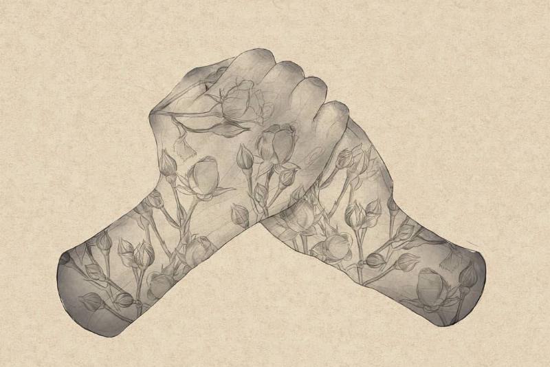 hands with flowers on them