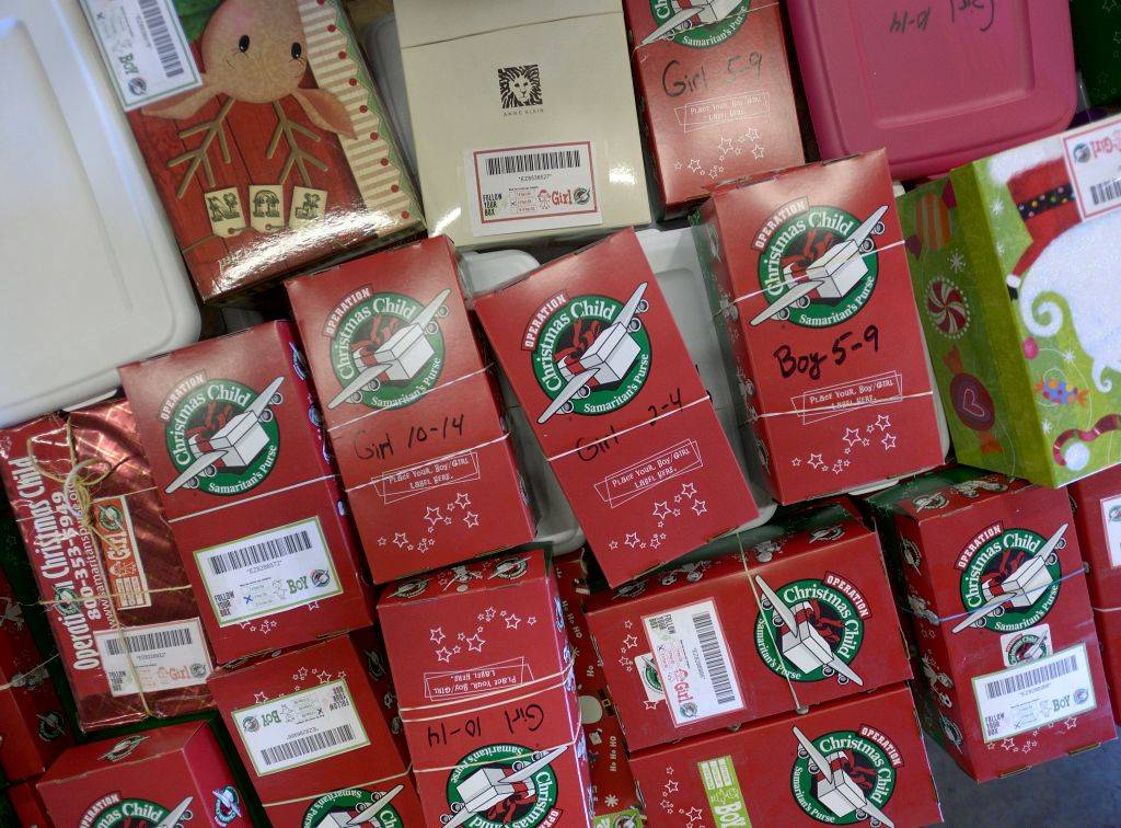 shoeboxes filled with toys, school supplies and hygiene items