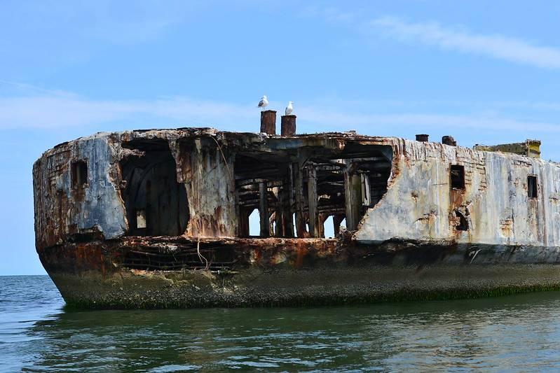 sunk ship off the coast