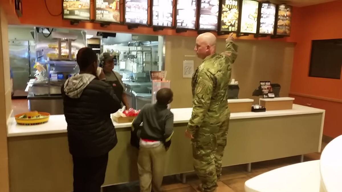 Soldier Robert Risdon buys kids dinner at Taco Bell.