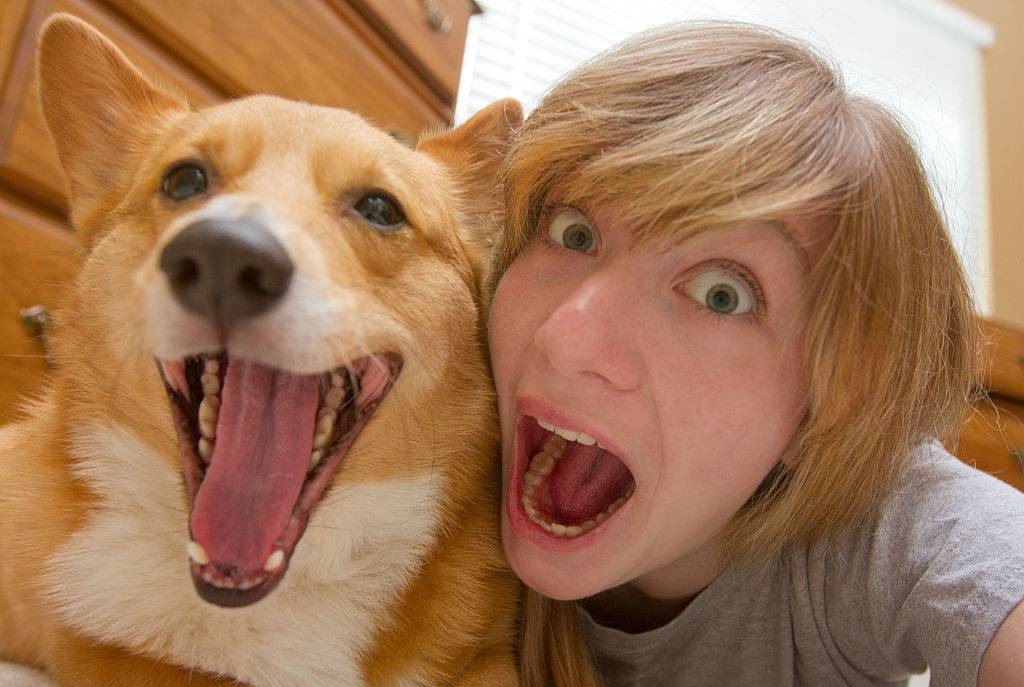 a teen girl and her corgi smiling with their mouths open